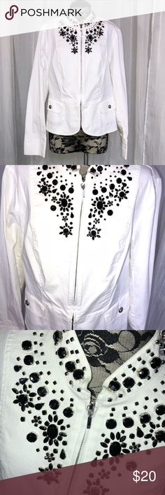 NWOT INC WOMENS WHITE JACKET SIZE medium 💥 New without tags. Zip up cotton jacket with black crystal accents. Really nice lightweight for summer.   I'm Selling an entire wardrobe so check out my closet!  From high level executive to stay at home mom ❤️ no need for this beautiful clothing. INC International Concepts Jackets & Coats
