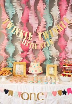 "This ""Twinkle Twinkle Little Star"" first birthday party is a fabulous way to celebrate your baby turning 1 year old. With pink, coral, and mint decoration ideas, this beautiful birthday bash is every little girl's dream!"