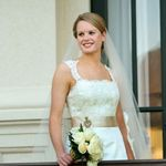 #RealBride wearing a classic lace wedding dress designed by heidi elnora for her big day!