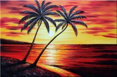 Sun Down Palm Tree Painting | palm tree sunset paintings | Palm Trees at Sunset in Hawaii Seascape ...