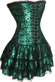 2162 Green Corset Skirt Set (Original Price: $108.95) [2162 Green] - $32.95 : Best-lingerieline