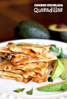 Cheesy quesadillas filled with chicken and a homemade enchilada sauce.