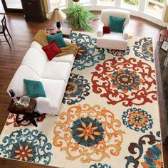 Elegant Area Rug Turquoise Orange Ivory Dynamic Design Carpet Floor Home Decor Virginia Housecarpet Flooringbetter Homes And Gardensred