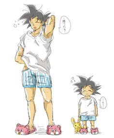 """Tél père tel fils  """"lØl""""  • Goku & Goten ~  Dragon Ball Z/GT/Kai"""