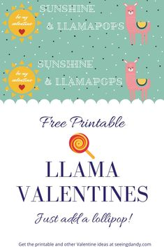 These free printable sunshine and lollipops llama Valentines are adorable and the perfect DIY for the school party! Valentines For Kids, Valentine Day Crafts, Printable Valentine, Holiday Crafts, Dandy, Rainbow Songs, Gifts For Your Boyfriend, School Parties, Valentine's Day Diy