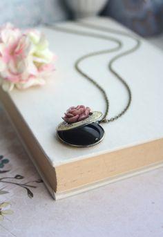 Dark Red Brown Rose Flower Locket Necklace. Round by Marolsha