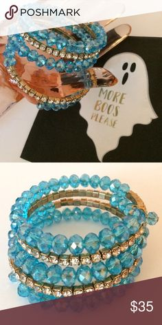 """New Turquoise Facet Bead Rhinestones Coil Bracelet Is this a trick or treat? 👻 Bundle and save! Brand new turquoise blue faceted beads and clear rhinestones wire wrap bracelet with dangle charms adorning the ends. Absolutely phenomenally gorgeous! Gold metal frame. I have a 6"""" wrist and this is great for 7"""" wrist or smaller for optimum comfort. Price firm unless bundled. Jewelry Bracelets"""