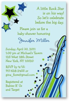 Maybe this theme for baby shower @Kandi Broersma and @Becky Field (Becky do you think you could maybe do invites like this? ) Little Rock Star Boy Custom Baby Shower by LittlePrintsParties, $12.00