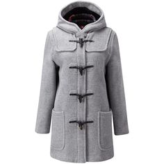 Gloverall Mid Length Original Fit Duffle Coat (350 CAD) ❤ liked on Polyvore featuring outerwear, coats, jackets, silver, women, real leather coats, gloverall, mid length coat, leather coat and toggle coat