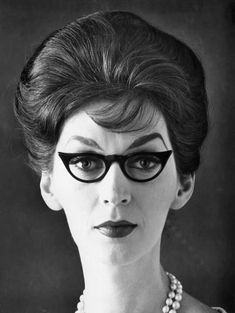 Eyewear Cling by Kono Manufacturing Company, NY, © Corbis Helmet Hair, Vintage Photos Women, Cat Eye Glasses, Rockabilly Fashion, Interesting Faces, Cat Eyes, Big Hair, Eyewear, Vintage Fashion