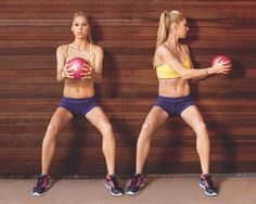 With your back against a wall, hold a medicine ball with both hands in front of your chest and lower into a squat (a). Keeping your hips steady, twist to the left and reach the ball toward the wall (b). Return to centre. That's one rep. Repeat on the other side. Move back and forth at a slow, controlled pace for 20 total reps.    Quick tip: Make it harder by fully extending your arms instead of bending your elbows.