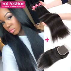 Find More Human Hair Weft with Closure Information about Brazilian Virgin Hair Straight  3 Bundle with Closure Grade 6A Unprocessed Cheap Human Hair Brazilian Virgin Hair with Closure,High Quality hair ornament,China hair extensions for afro hair Suppliers, Cheap hair bobby from Hot Fashion Hair Products Co.,Ltd  on Aliexpress.com