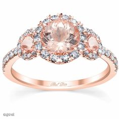Morganite Rose Gold Halo Three Stone Ring - click to enlarge