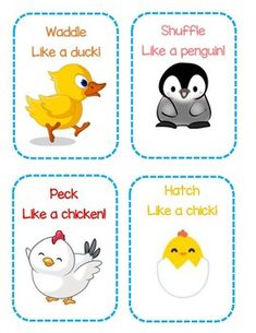 Bird Themed Gross Motor Activity Cards by Early Childhood Resource Center Gross Motor Activities, Movement Activities, Preschool Lessons, Toddler Activities, Preschool Activities, Bird Crafts Preschool, Music Activities, Physical Activities, Toddler Classroom