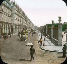 Rue de Rivoli at the northeast corner of the Tuileries, hand-coloured lantern photo, early 1900s