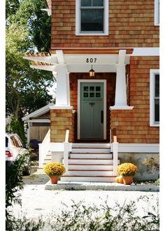 eclectic entry Green door