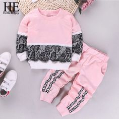 Hello Enjoy Girls Clothing Sets New Autumn Active girls clothes L Children Clothing Cartoon Print Sweatshirts+Pants Suit Baby Set, Enjoy Girl, Baby Shirts, Baby Sweaters, Printed Sweatshirts, Holiday Fashion, Trousers Women, Outfit Sets, Hats For Women