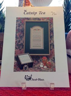 """Just Nan """"Catnip Tea"""" Sampler Cross Stitch by TheLavenderPathHome on Etsy"""