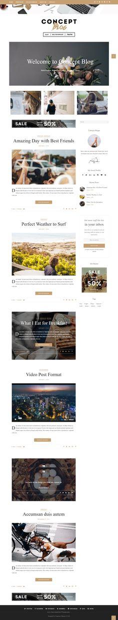 Concept Blog Powerful Creative WordPress Theme  includes 6 concepts: Standard, Color, Magazine, Flat, Block, Photoblog. #blogging #wptheme
