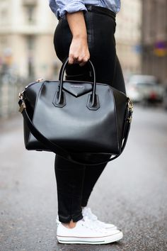 striped oxford - leather pants - white chucks - black tote
