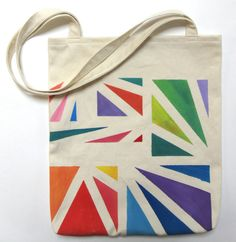 Something wonderful to carry lots of books in! Hand Painted Tote Bag Eco Friendly / by MusicalColorStudio on Etsy, $35.00