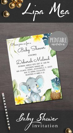 Elephant Baby Shower Invitation Boy Baby Shower Invitation Tropical Baby Shower Invitation Jungle Baby Shower Invitation Safari Baby Shower Ideas. lipamea.etsy.com