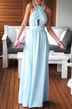 Solid Color Backless Tie-Up Sleeveless Maxi Dress
