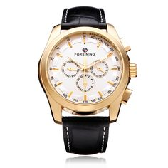 Sale 11% (19.99$) - FORSINING 3 Dial Gold Leather Mechanical Flywheel Calendar Men Watch