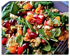 Juicy Fruit Salad viaalovelylittleblog: Baby spinach, pineapple, strawberries, grapes, mandarin oranges, and shaved almonds. So juicy no dressing needed. #Salad #Fruit #Spinach #Almonds #Healthy