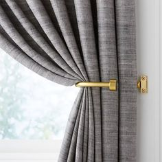 CB Brass Curtain Tiebacks, Set of 2 at Crate and Barrel Canada. Curtains And Draperies, Home Curtains, Curtains Living, Modern Curtains, Black Out Curtains Bedroom, Curtains And Blinds Together, Curtain Ideas For Living Room, Blackout Curtains, Black Curtain Tiebacks
