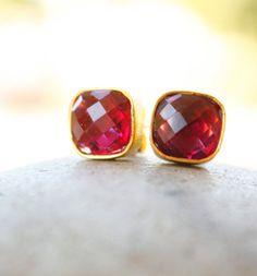 Gold Ruby Quartz Square Stud Earrings  Cushion Cut  Red by OhKuol, $45.00