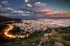 If you stay long enough to a place and you keep your tripod steady, then you can capture both the sunset time and the blue hour and then combine them into something really interesting. The view above my city of Kavala in East Macedonia region - Greece. Blue Hour, Macedonia, Best Cities, Beautiful Lights, Tripod, Artist At Work, Fine Art Paper, Fine Art America, Greece