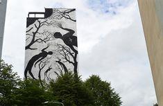 Hordes of Silhouettes Form Trees and Other Figures in New Murals from David de la Mano & Pablo Herrero Graffiti, Art Festival, Public Art, Art, Silhouette, Land Art, Art Films, Street Art, Black Silhouette