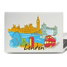 London Illustration Laptop Skin Sticker Laptop Decal, Laptop Stickers, London Illustration, Laptop Covers, Laptop Skin, Vinyl Decals, Inspiration, Biblical Inspiration, Inhalation