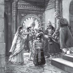 """Asvatthama had mercilessly killed the five sleeping sons of Draupadi in the middle of the night. Krishna, Arjuna and Bhima went and captured Asvatthama and brought him to Draupadi for her to take the final decision. Draupadi,sense of compassion when Asvatthama sat with his head down. , Draupadi could feel the pain Drona's wife could feel at the loss of her son. She said to Arjuna, """"Release him, Arjuna, for he is the son of your martial teacher."""