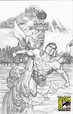Superman Drawing, Superman Art, Superman Stuff, Dc Comics, Action Comics 1, Artist Alley, Comics Universe, Comic Page, Pictures To Draw