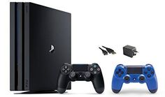 PlayStation 4 Pro Console 3 items Bundle:PS4 Pro 1TB Console,Extra PS4 Dualshock 4 Wireless Controller Wave Blue with Mytrix Wall Charger