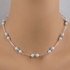 Lovely white pearl, turquoise, sterling silver chain necklace. BUY NOW http://jewelrybytali.com/products/white-pearl-turquoise-sterling-silver-chain-necklace