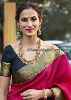 Shilpa Reddy in Antique Peacock Haram Ruby Jhumkas