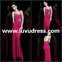 Unique Design Fashion Sheath Chiffon Floor length One Spaghetti Strap 2014 Prom Dress