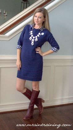 Mrs in Training: Fashion Friday!  Navy sweater dress, navy and white gingham button up, oxblood, burgundy, maroon, red knee high boots, white bubble necklace.