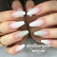 nice white ombre coffin nails