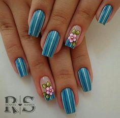 New Ideas Gel Manicure Diy Summer 2015 Acrylic Nail Shapes, Acrylic Nail Designs, Nail Art Designs, Acrylic Nails, Daisy Nails, Flower Nails, Blue Nails, Beautiful Nail Art, Gorgeous Nails