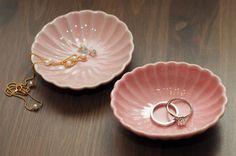 Mini Pink Scalloped Ring Dish - Oval, Round. $3.00, via Etsy.