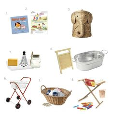 Montessori Laundry Ideas at How we Montessori Wash Day books, baskets and washboards