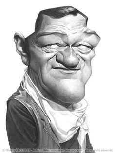 """Caricaturas de Famosos: """"John Wayne"""" por Thierry Coquelet"""