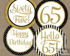 Black & Gold Glitter 50th Birthday Cupcake by NiftyPrintables