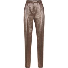 Alberta Ferretti Silk Lame Trouser ($895) ❤ liked on Polyvore featuring pants, brown, lame pants, silk trousers, relaxed fit pants, relaxed pants and brown pants