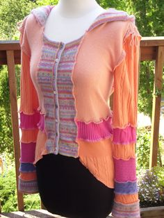 Upcycled Sweater from Recycled Sweater Cindylicious orange pink. $110.00, via Etsy.