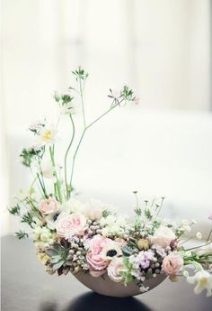 Japanese ikebana-inspired cherry blossom centerpiece from Dandelion Ranch